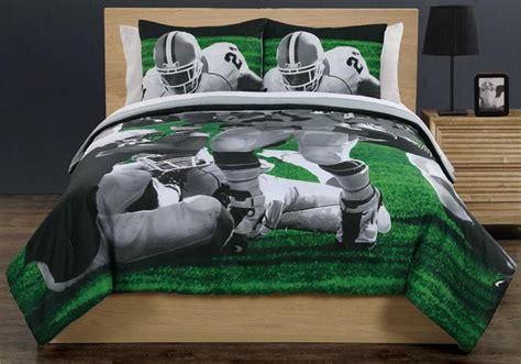 All State 3pc Quilt Bed Set Boys Sports Football Comforter Ebay Real American Football Sports Green Comforter Shams Bedding Set Boy Kid