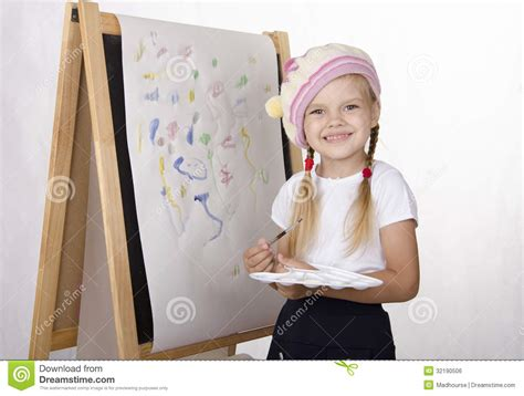 free painting for 4 year olds draws on the easel royalty free stock image image