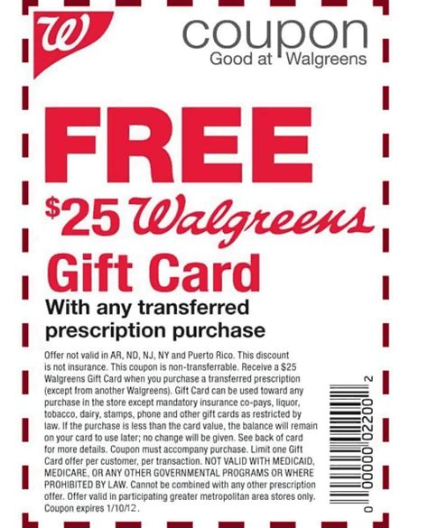 Gift Card Coupon - walgreens coupon use guidelines for seniors medical noise