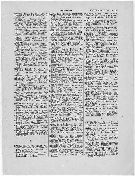 WWII Casualties: South Carolina   National Archives