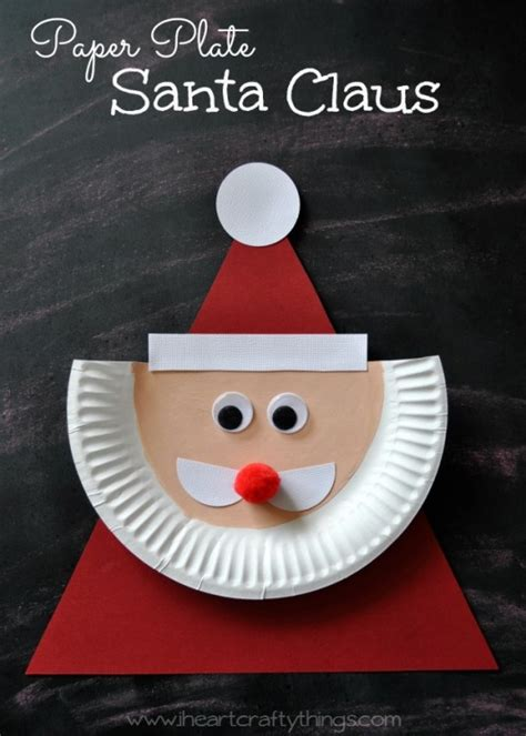 Home Made Decoration Things paper plate santa claus i heart crafty things