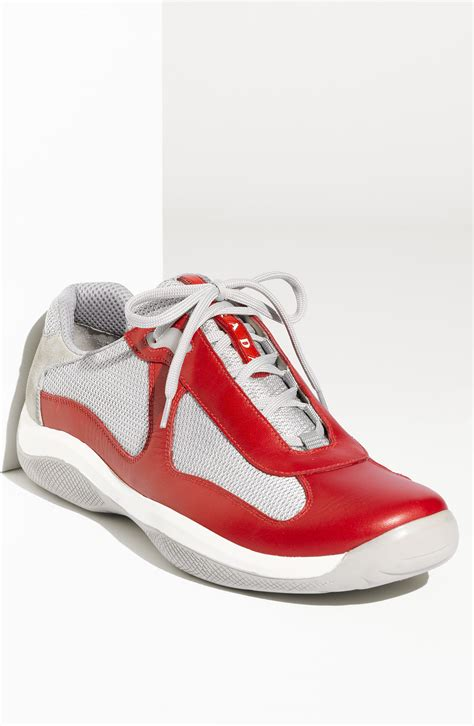 prada americas cup sneaker prada americas cup mesh leather sneaker in for