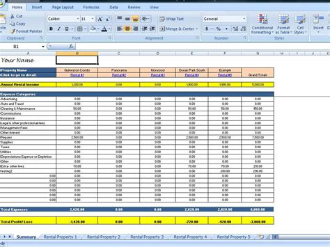 rental property spreadsheet template landlord rental income and expenses tracking spreadsheet