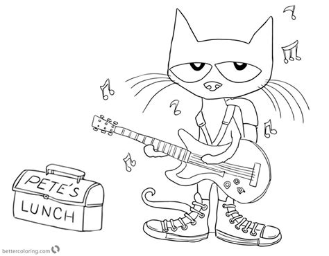 coloring page for pete the cat and his four groovy buttons pete the cat coloring pages play guitar for lunch free