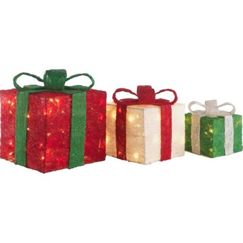 set of 3 light up christmas gift boxes christmas novelty