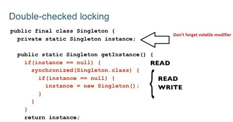 java double quote pattern thread safe singleton in java using double checked locking