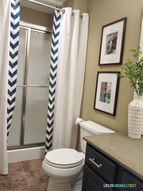 bathroom ideas with shower curtain guest bathroom no sew shower curtain tutorial life on