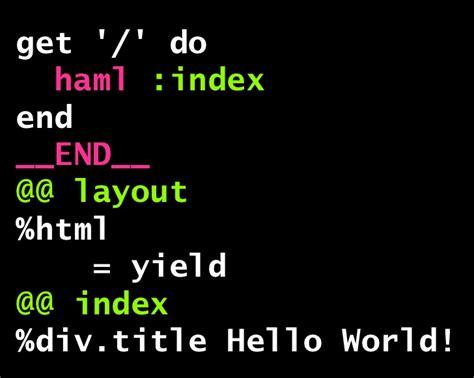 Haml Layout Yield | sinatraで鼻歌まじりのweb開発