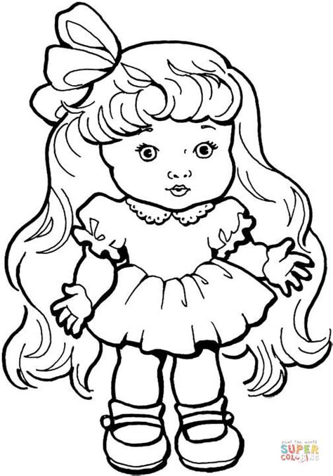 coloring pages of girl with long hair baby girl doll with long hair coloring page free