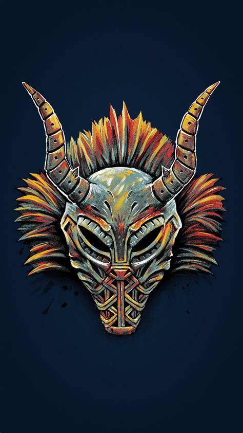 black panther killmonger tribal mask iphone wallpaper