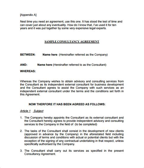 consultation agreement template 9 consulting contract templates free word pdf