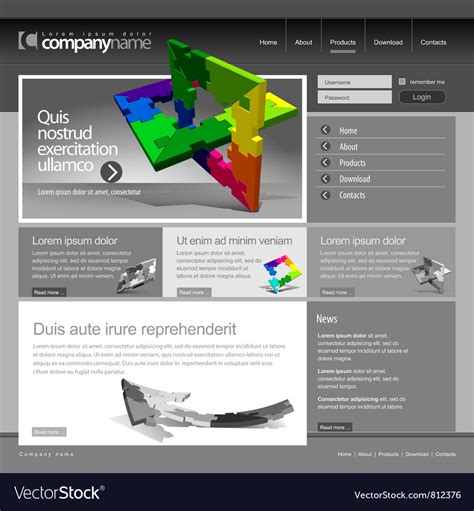 Gray Website Template 960 Grid Royalty Free Vector Image Copyright Free Website Templates