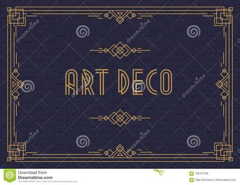 wedding invitation card template horizontal art deco style