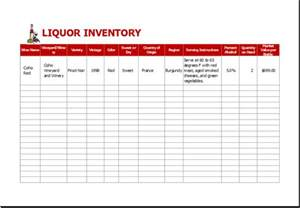 wine inventory template liquor inventory sheet template for excel excel templates