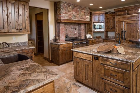 western kitchen cabinets water tower inspired home view near patio door rustic