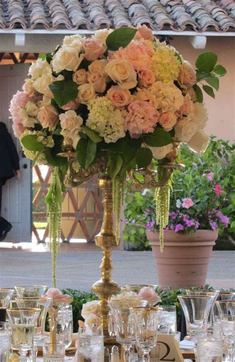 High Vase Centerpieces by Pale Pink Peonies Pink Ivory And Chagne Roses With