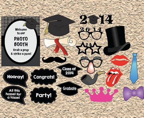 lips photo booth props graduation party idea s printable graduation photo booth props digital graduation