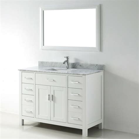 Chloe 48 Inch White Carrera Single Sink Vanity Set Bathroom Vanity 48 Inch