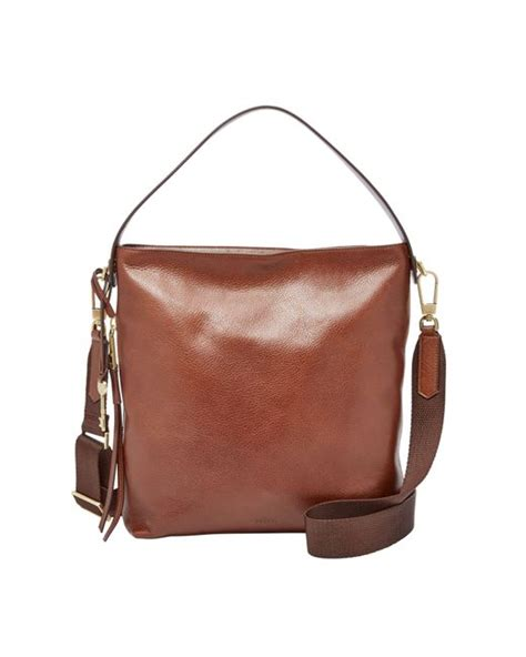 Fossil Hobo Grained Swing The Season fossil zb6979200 hobo bag in brown lyst