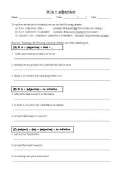 sentence pattern with adjectives english worksheet it is adjective pattern
