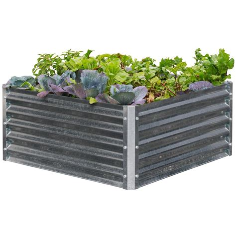 galvanized raised garden bed earthmark alto series 40 in x 40 in x 17 in square