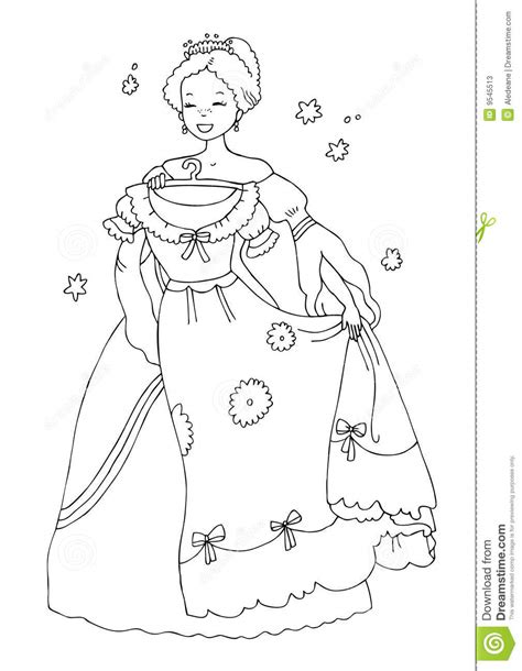 coloring book paper stock princess with new dress coloring page stock photos image