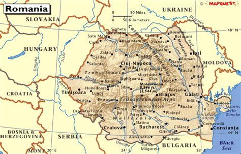 romania map with cities romania map