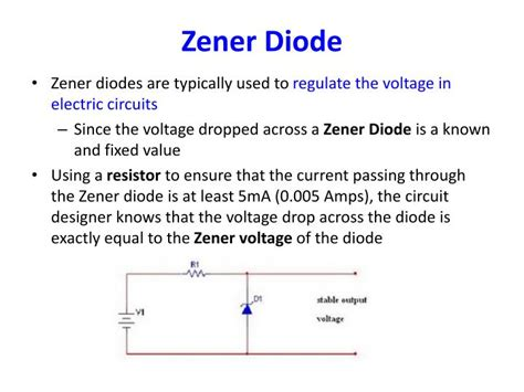 zener diode function and uses ppt lecture 4 diode led zener diode diode logic powerpoint presentation id 918872