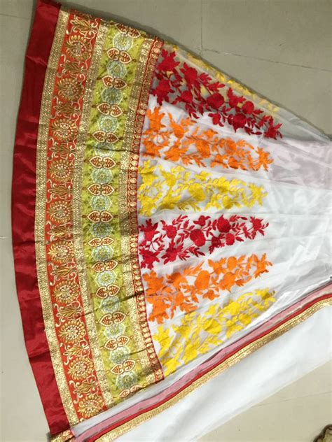 embroidery unstitched design buy white embroidered net unstitched lehenga with dupatta