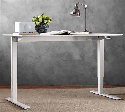 humanscale 174 sit stand desk white base pottery barn