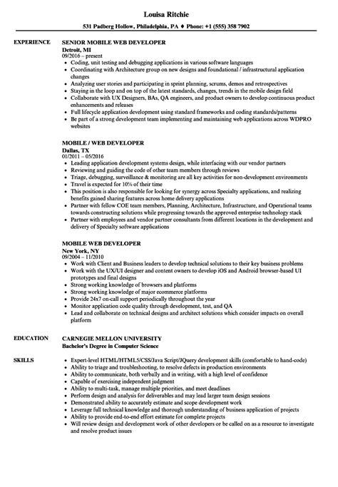 Ab Initio Developer Sle Resume by Mobile Web Developer Cover Letter Operations Clerk Sle Resume