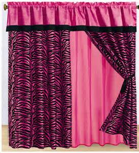 Pink And Black Curtains 8pc Pink Zebra Animal Print Flocking Window Curtain Set Bed In A Bag Bedding Ebay