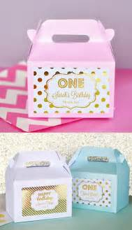 Favors For 1st Birthday by 1st Birthday Favors Boxes Pink And Gold 1st Birthday