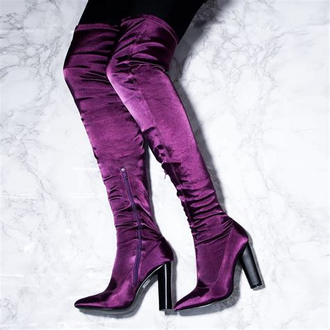vagas purple knee boots from spylovebuy