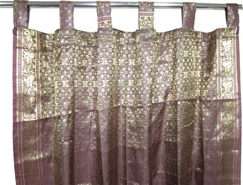 indie curtains indie style decor 2 brown gold brocade indian sari