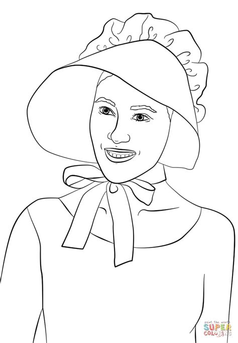 pilgrim coloring pages wearing pilgrim bonnet coloring page free printable