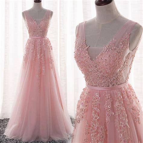 light pink formal dresses tulle handmade pink v neckline a line prom dress
