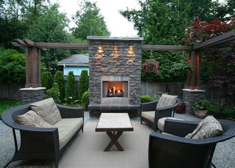 patio area outdoor living area with fireplace contemporary patio vancouver by my house design build