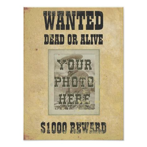 printable personalised poster custom wanted poster print zazzle