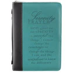 serenity prayer bible cover large black teal imitation