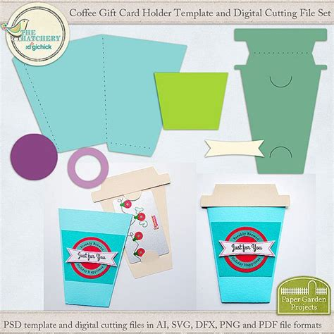 free template for gift card holder coffee cup gift card holder template and digital cutting