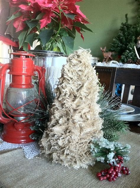 putting your holiday decorations up early could make you happier a wee meenit scrappy burlap tree diy styrofoam cone shapes trees burlap and