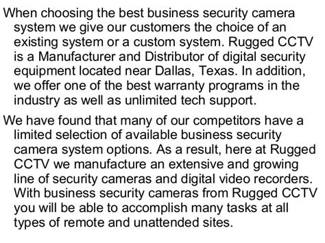 Rugged Cctv by Business Security Cameras From Rugged Cctv