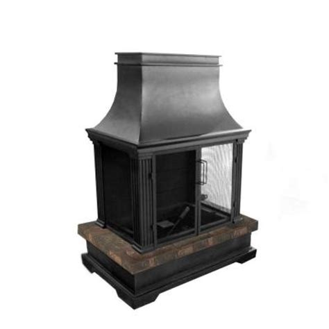 hton bay outdoor fireplace hton bay sevilla 36 in steel and slate wood burning