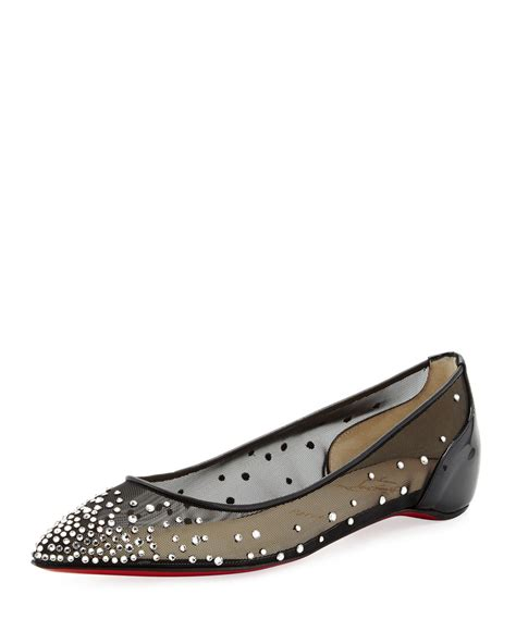 christian flat shoes lyst christian louboutin strass pointedtoe