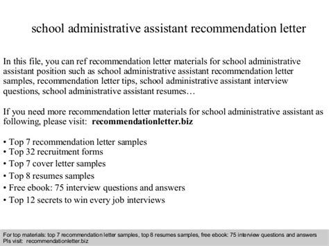 Reference Letter For Administrative Employee School Administrative Assistant Recommendation Letter