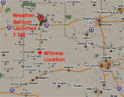 map of texas showing amarillo sighting reports 2009