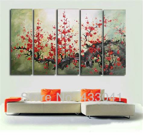 oversized wall art hand painted modern oversized red flower canvas wall art