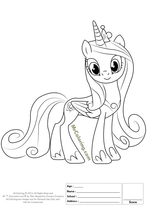 my little pony cadence coloring page princess cadence my little pony coloring page many