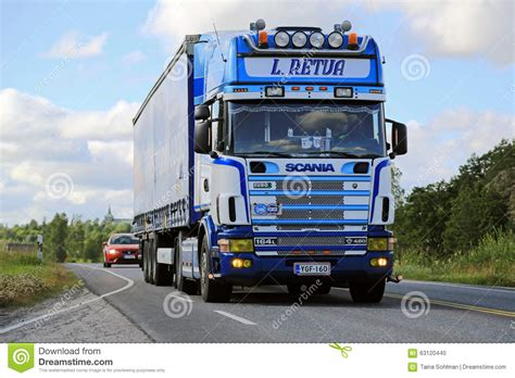 Semi L by Scania 164l Semi Truck On The Road At Summer Editorial